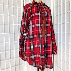 F21 forever 21 tartan long blouse